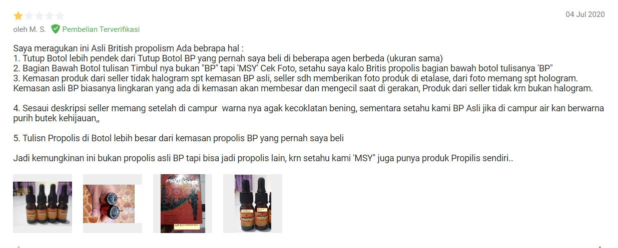 Review British Propolis Shopee Tokopedia Bukalapak Lazada